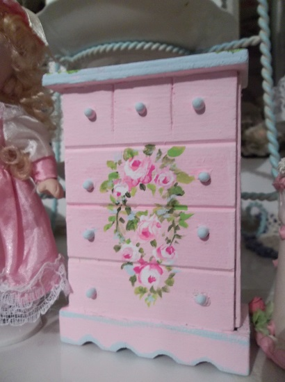(Olivia) Handpainted Wood Doll House Dresser