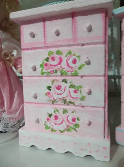 (Faye) Handpainted Wood Doll House Dresser