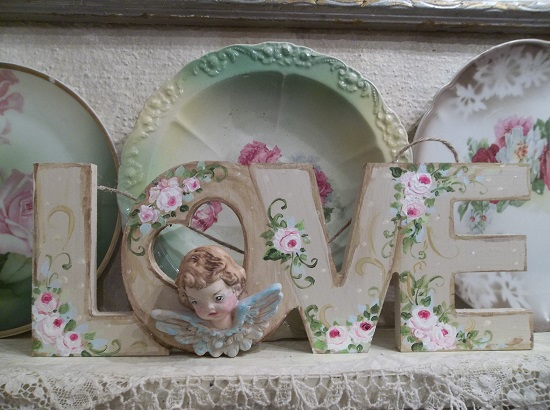 (Gabriella) Handpainted And Decorated Love Sign