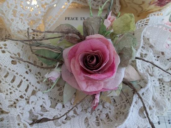 (Praise Be) Handmade Paper Rose Clip