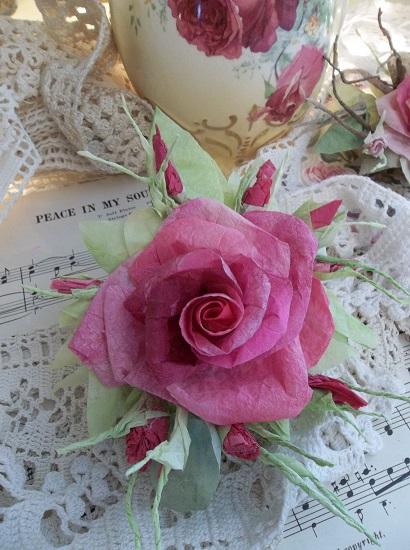 (Soul Sister) Handmade Paper Rose Clip
