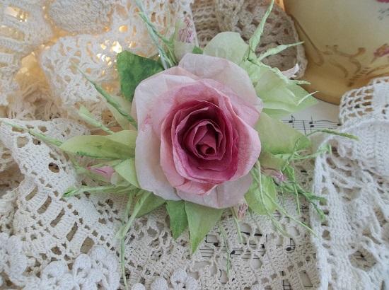(Karleena) Handmade Paper Rose Clip