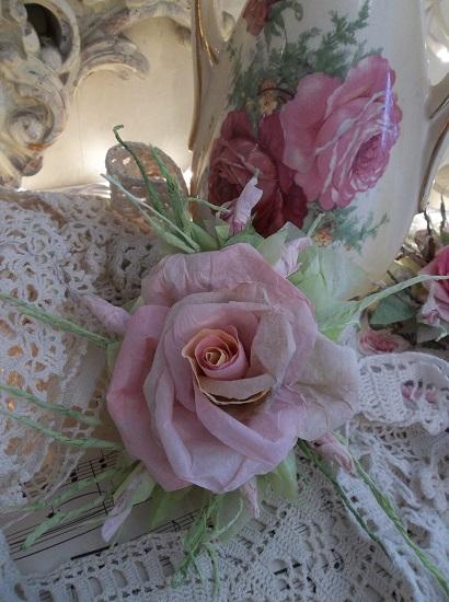 (Barbara) Handmade Paper Rose Clip