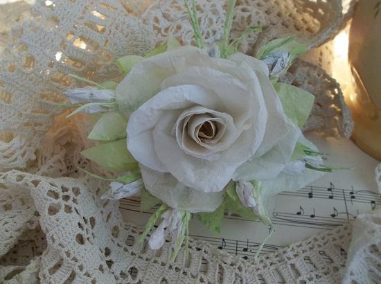 (Old Linen) Handmade Paper Rose Clip