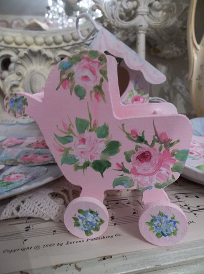(Oh Baby) Handpainted Wood Baby Buggy