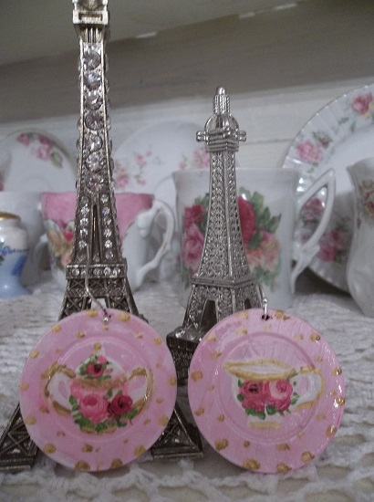 (Cream Or Sugar) Handpainted Earrings