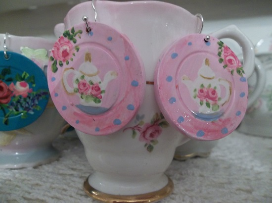(Sweet Tea Time) Handpainted Earrings