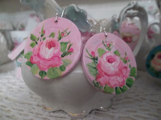 (Canadian Rose) Handpainted Earrings