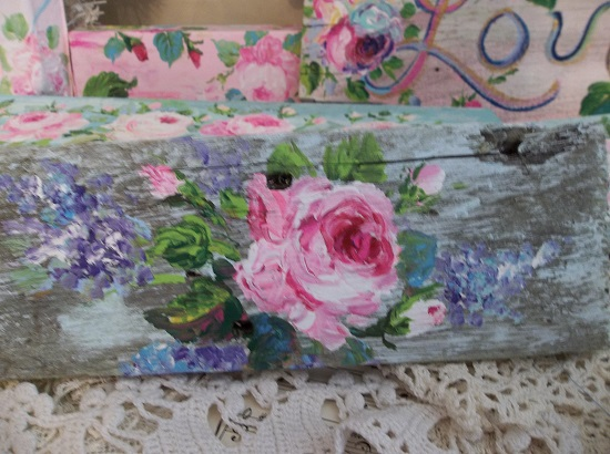 (Old Roses And Lilacs) Handpainted Sign