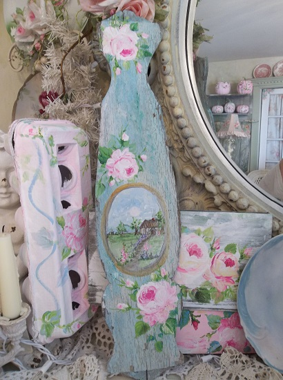 (French Cottage In All It's Shabby Splendor) Handpainted Chair Back