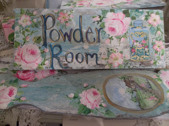 (Powder Room) Handpainted Sign