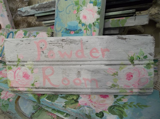(Rose Powder Room) Handpainted Sign