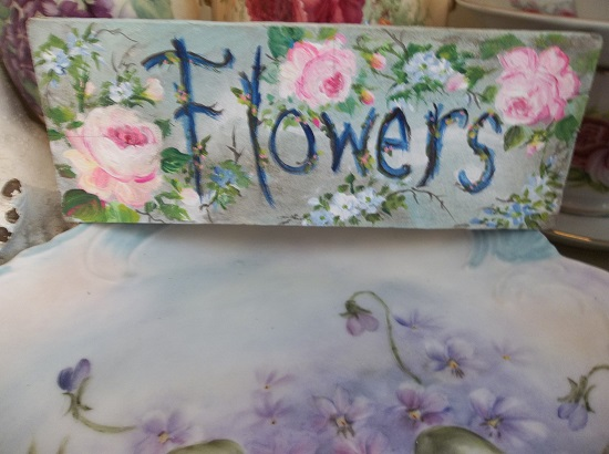(Forget Me Not Flowers) Handpainted Sign