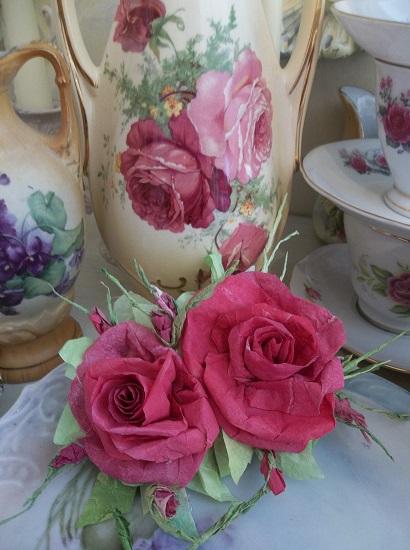 (Deep Drastic Beauty) Handmade Paper Rose Clip