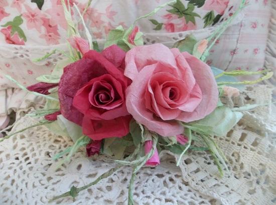(Mama) Handmade Paper Rose Clip