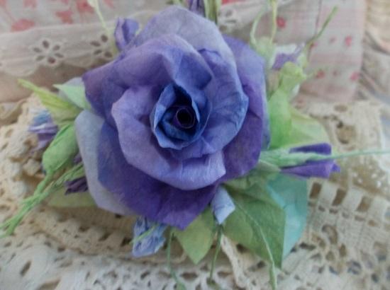 (Violet Grace) Handmade Paper Rose Clip