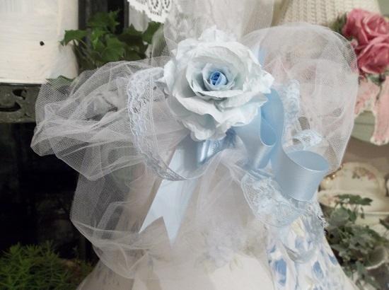 (Sky Blue) Handmade Assemblage Art Paper Rose Clip