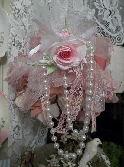 (Wedding In Paris) Handmade Assemblage Art Paper Rose Clip