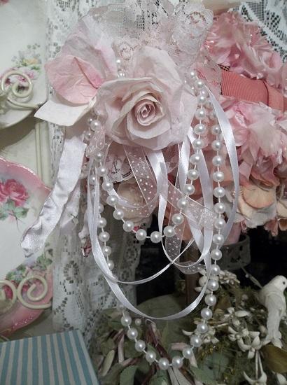 (Queenita) Handmade Assemblage Art Paper Rose Clip