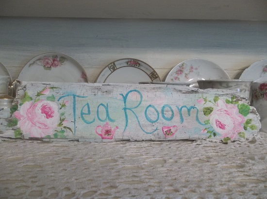 (Pastel Rose Tea Room) Handpainted Sign