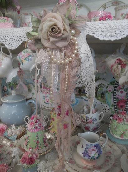 (Vintage Dream) Handmade Assemblage Art Paper Rose Clip