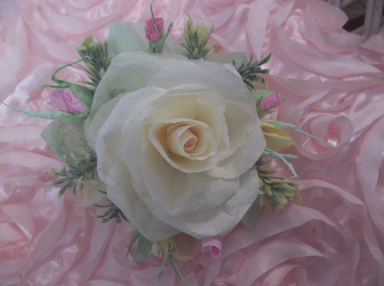 (Lemon Pie And Rose Buds) Handmade Paper Rose Clip