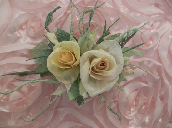 (Lemon Curd And Roses) Handmade Paper Rose Clip