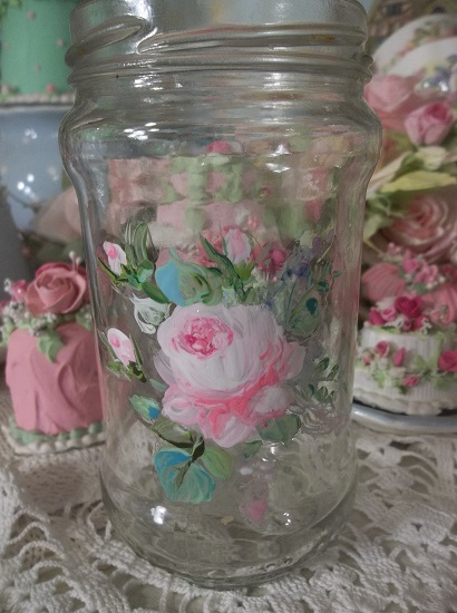 (Rose Time) Handpainted Jar