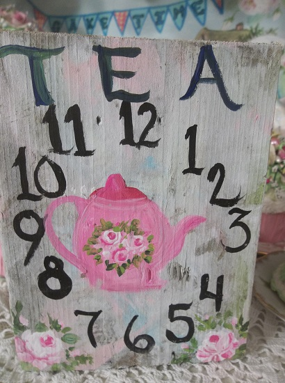 (Teapot Time) Handpainted Sign