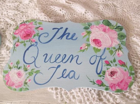 (Queen Of Tea) Handpainted Plaque