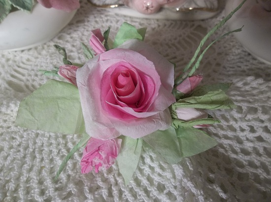(Little JoJo) Handmade Paper Rose Clip