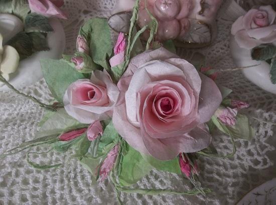 (Forever Pink Roses) Handmade Paper Rose Clip