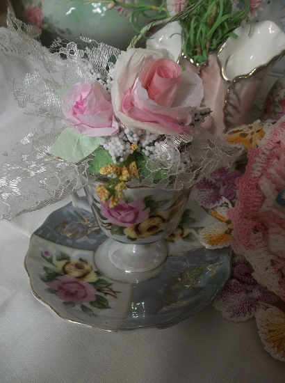 (Cup Of Love) Tea Cup And Saucer With Arrangement