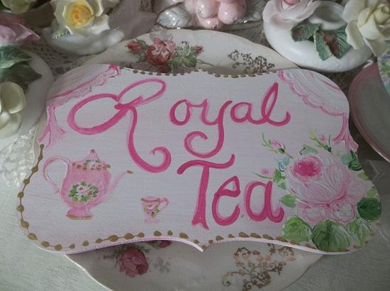 (Pink Royal Tea) Handpainted Plaque