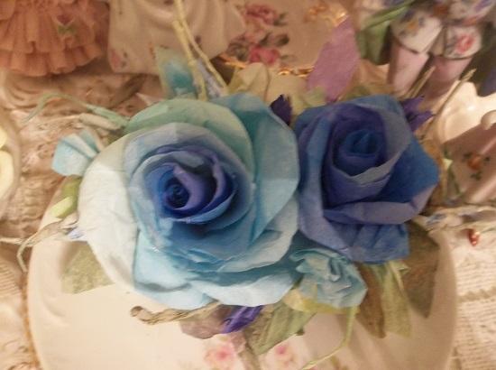 (Delphinium Blue Rose) Handmade Paper Rose Clip