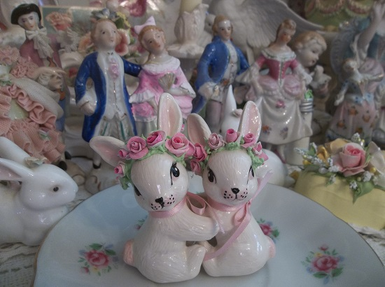 (Bunny Hugs) Set Of 2 Decorated Bunny Candle Huggers