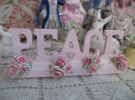 (Pink Peace Roses) Decorated Wood Peace Sign