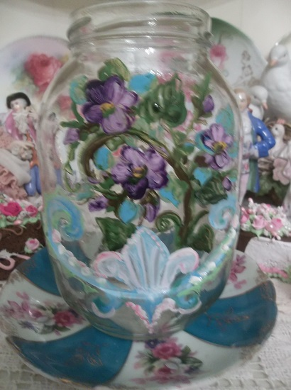 (Violet Dew) Handpainted Glass Jar