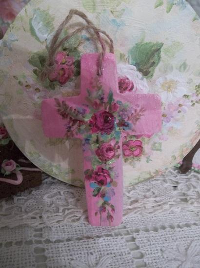 (New Wine) Handpainted Wood Cross
