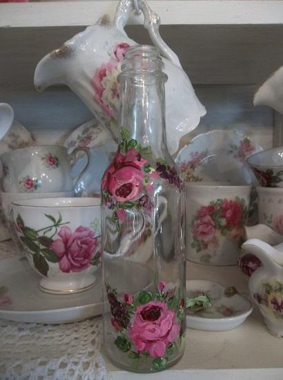 (Cordial Cora) Handpainted Glass Bottle