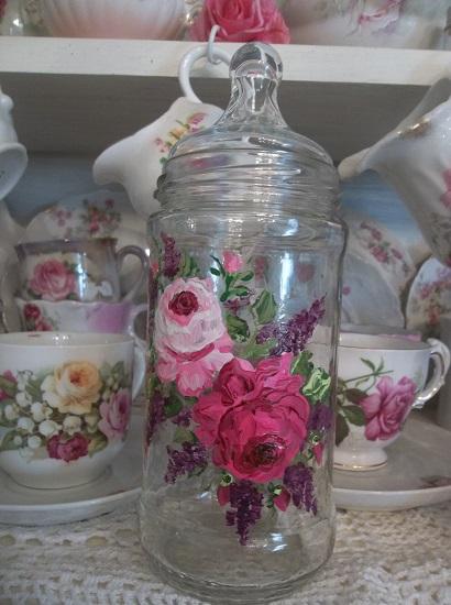 (Sarah Jayne) Handpainted Glass Jar
