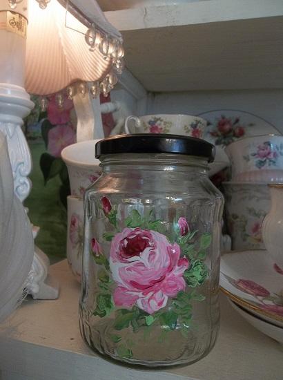 (Shalyie) Handpainted Glass Jar