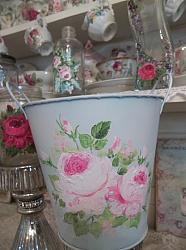 (Spring Roses) Galvanized Handpainted Can Planter