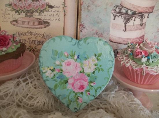 (Mid Summers Garden) Handpainted Mache Heart Box