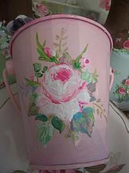 (Clancey Rose) Handpainted Enamel Bucket
