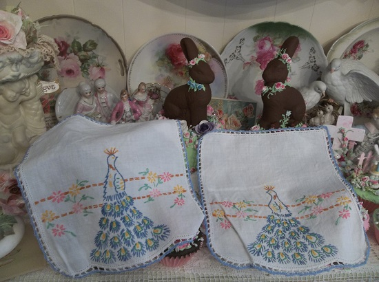 (Pretty As Peacocks) Set Of 2 Pieces Of Embroidered Handiwork
