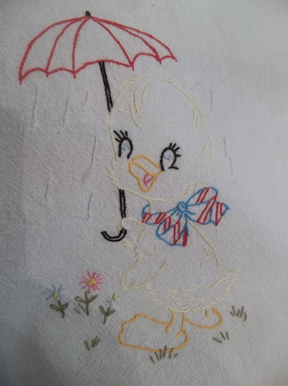 (Quacking In The Rain) Old Embroidery Perfect Dish Towel