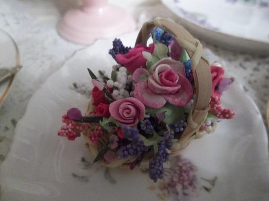 (Jane Austin) Clay Rose Floral Arrangement In Small Basket