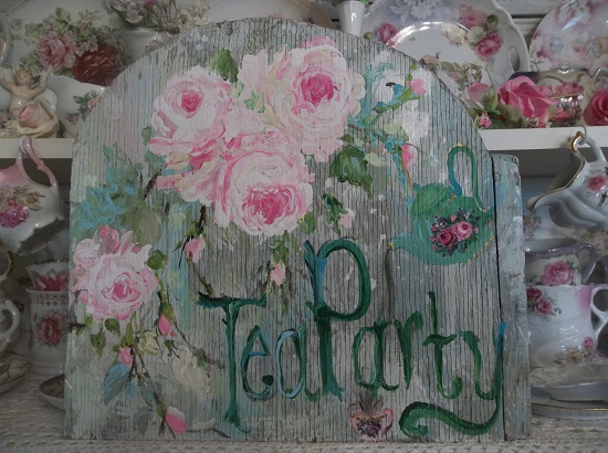 (Alice's Tea Party) Handpainted Sign