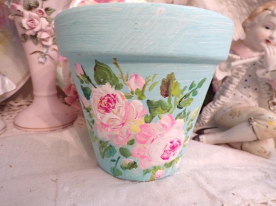 (Melanie Rose) Handpainted Terracotta Pot